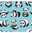 seamless pattern with cartoon pandas vector image