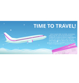 Time to travel Flat plane flies in the night sky vector image
