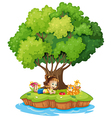 An island with a girl and a cat vector image vector image