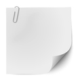 White note paper with metallic clip vector image