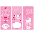 baby girl shower set party decoration scrapbook vector image