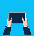 business man hands holding digital tablet computer vector image