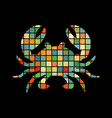 crab mosaic color silhouette aquatic animal vector image