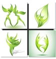 Eco-icon with green dancers vector image