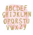 Hand drawn golden glitter letters Font for for vector image