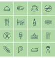 set of 16 restaurant icons includes check in vector image