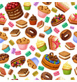 cartoon colorful desserts seamless pattern vector image