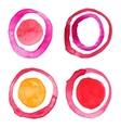 Hand draw watercolor rings circle round stains art vector image