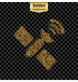 Gold glitter icon of satellite isolated on vector image