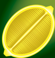fresh lemon in a longitudinal section on a green vector image