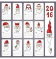 Calendar 2016 Doodles Santa facesMonthly cards vector image