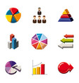 social infographic icons set cartoon style vector image