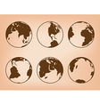 brown globes with continents - set of Earth vector image