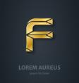 Letter F elegant gold font Template for company vector image