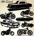 old school cars and motorbikes vector image vector image