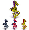 Set of 3d colorful shattered musical notes with vector image