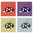 Set of flat icons with long shadow hedgehog gifts vector image
