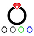 diamond ring flat icon vector image