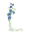 Floral bouquet frame swirl vignette border with vector image
