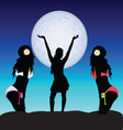 girl set on moonlight vector image