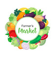 round banner for menu with vegetables vector image