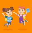 school children with books and backpacks jumping vector image