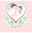 wedding portrait of a couple in heart vector image