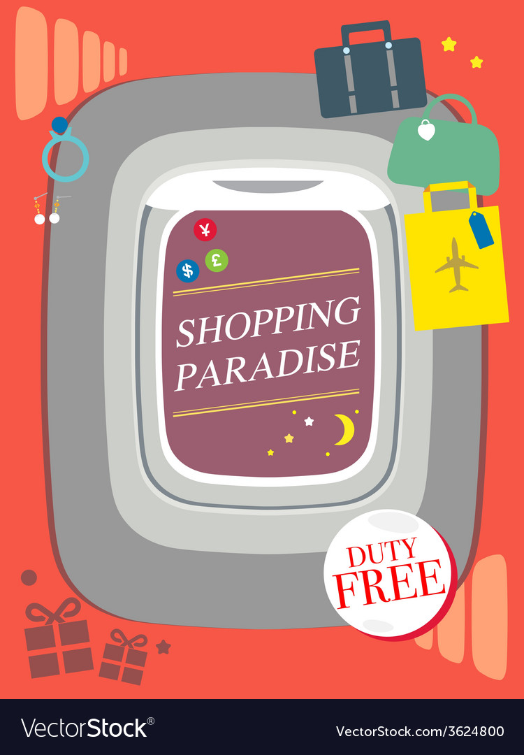 Shopping duty free travel concept design airplane vector