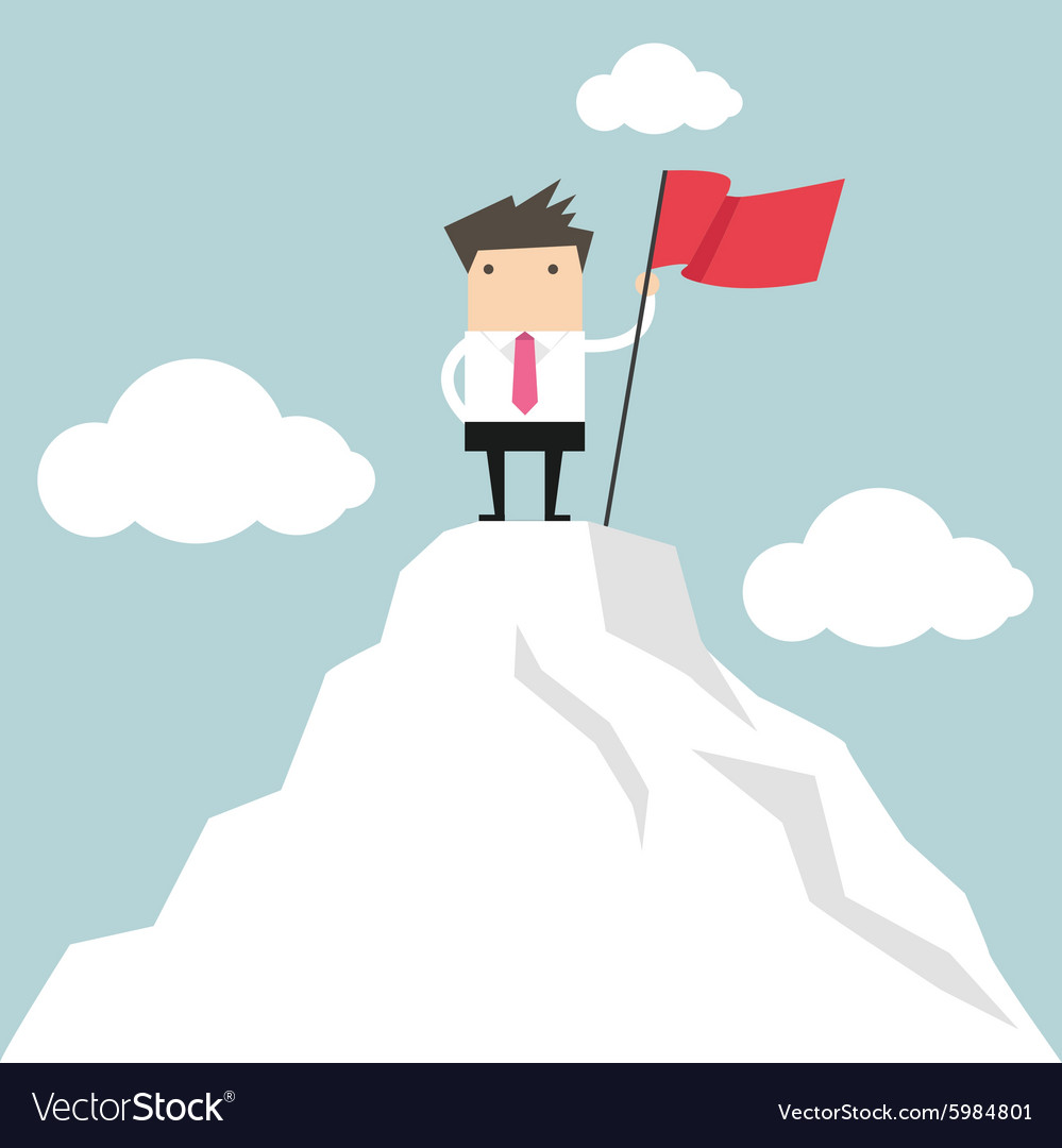 Businessman go to the top of mountain vector