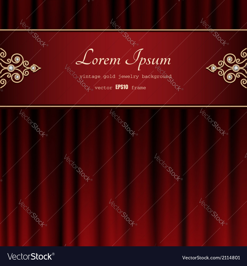 Gold frame on red curtain vector