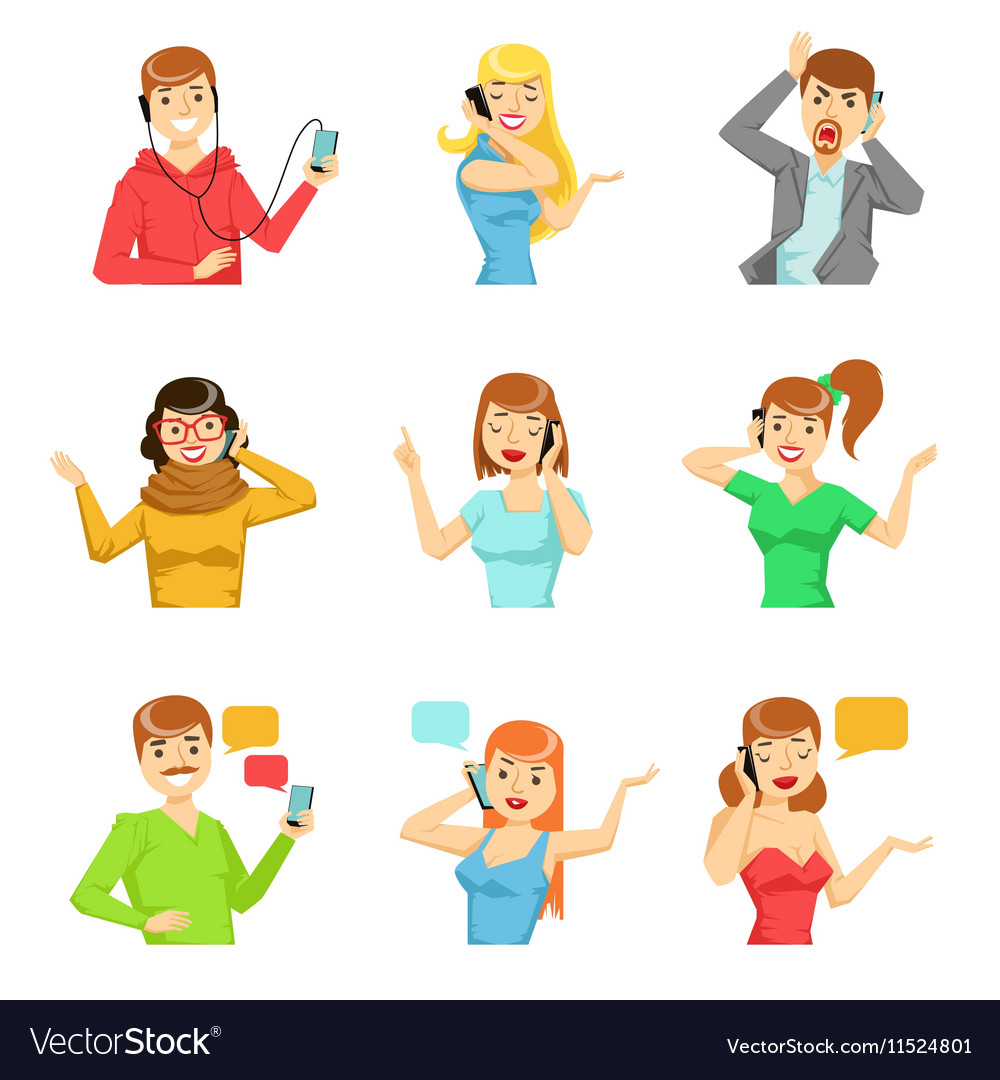 People speaking on the phone collection of vector