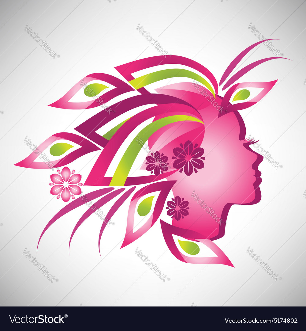 Beautiful stylized profile woman with floral hair vector