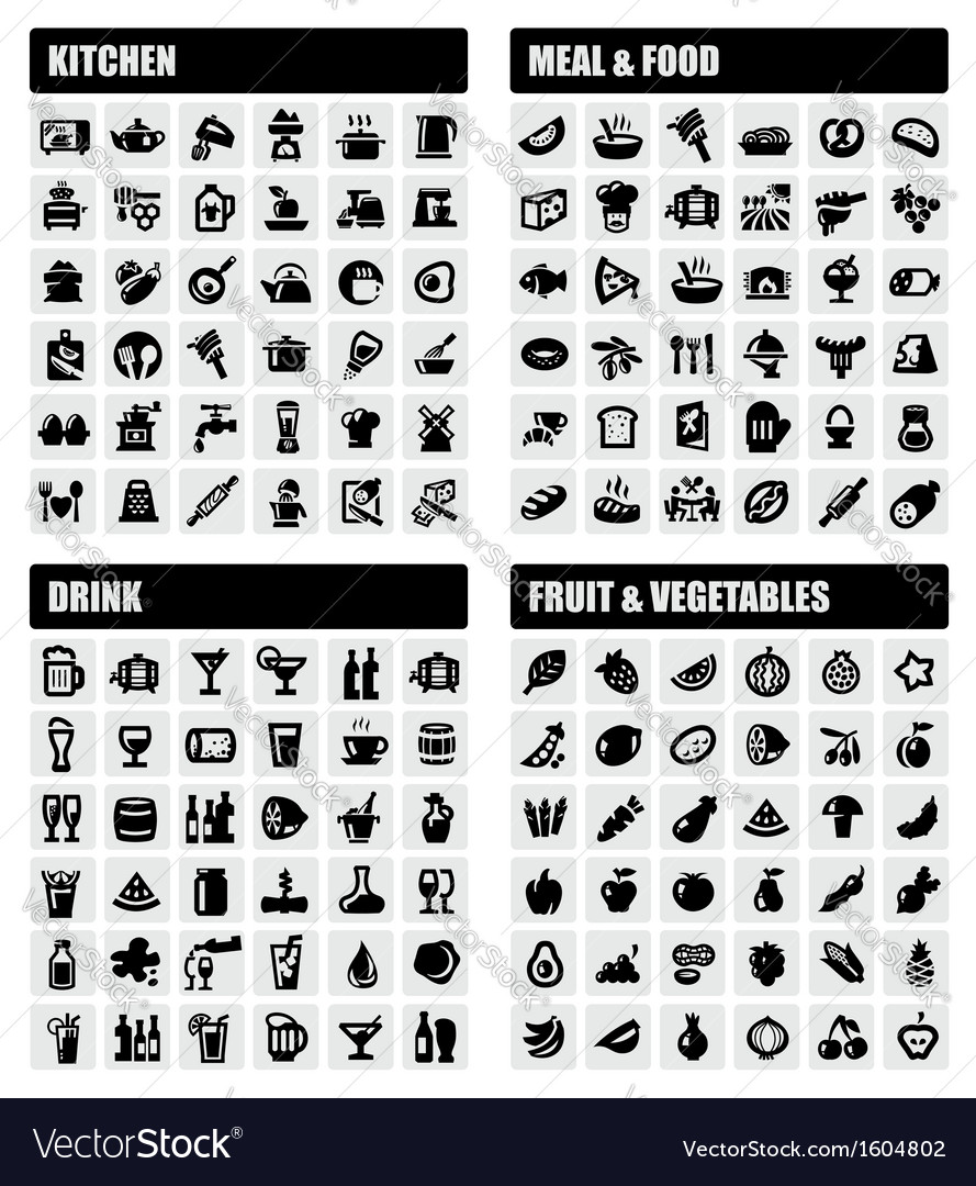 Beverage food kitchen icons vector