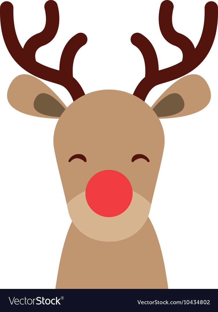 Reindeer christmas character isolated icon vector