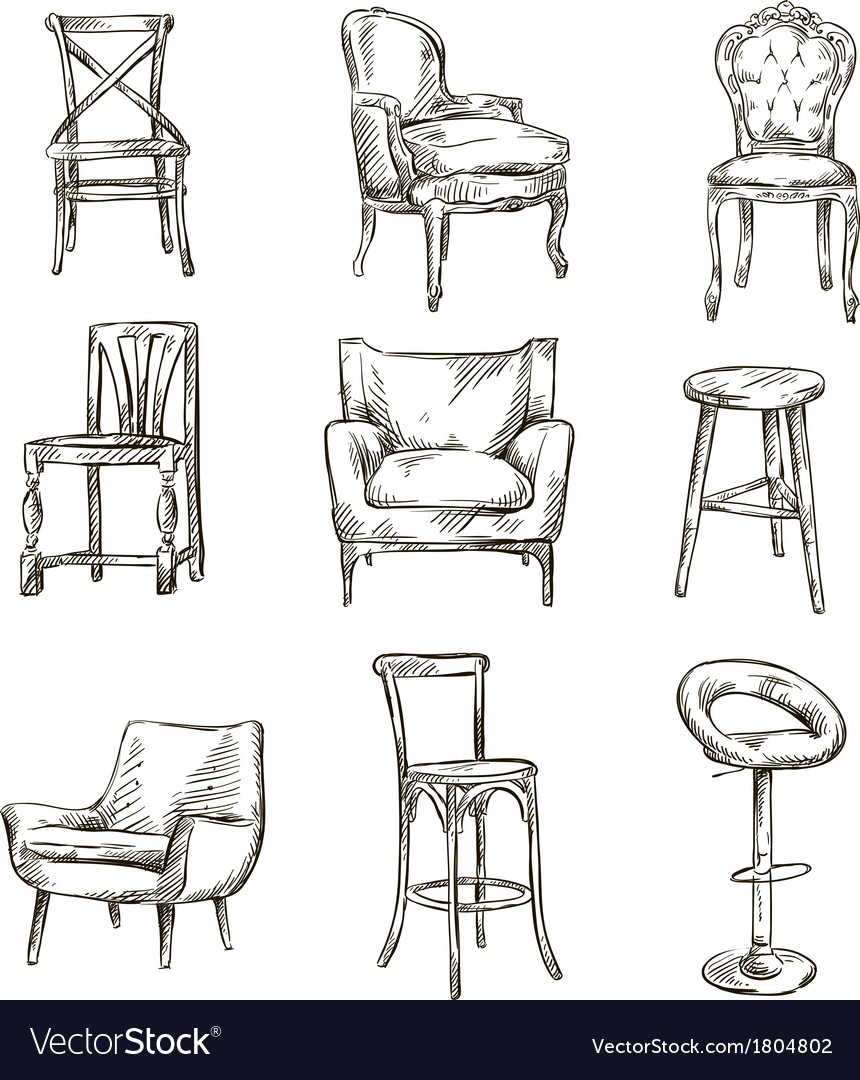 Set of hand drawn chairs vector