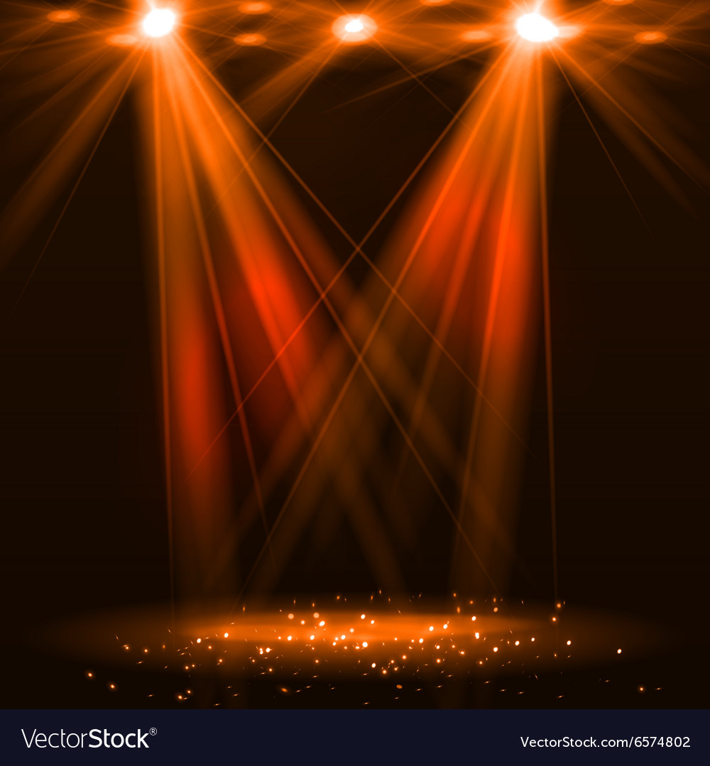 Spotlight on stage with smoke and light vector