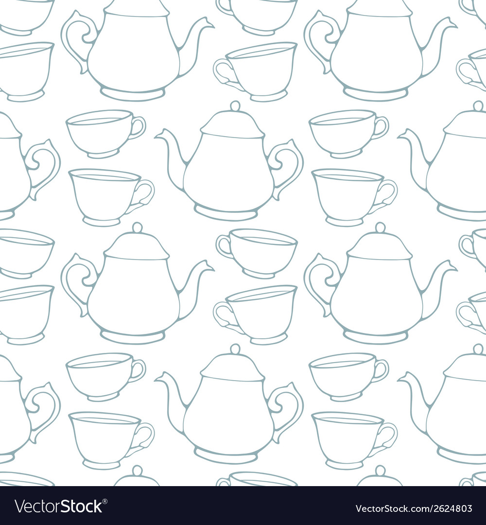 Seamless pattern with decorative cups and teapots vector