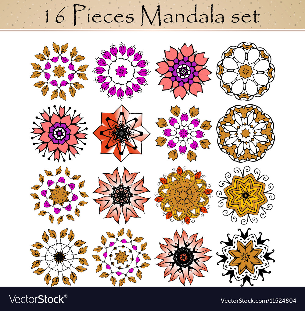 Beautiful ornamental rosettes set for ethnic or vector