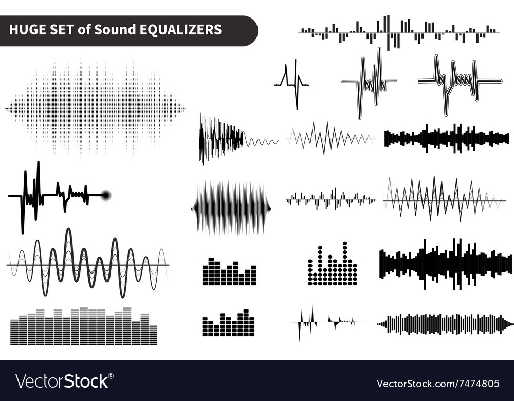 Sound waves set audio equalizer technology vector