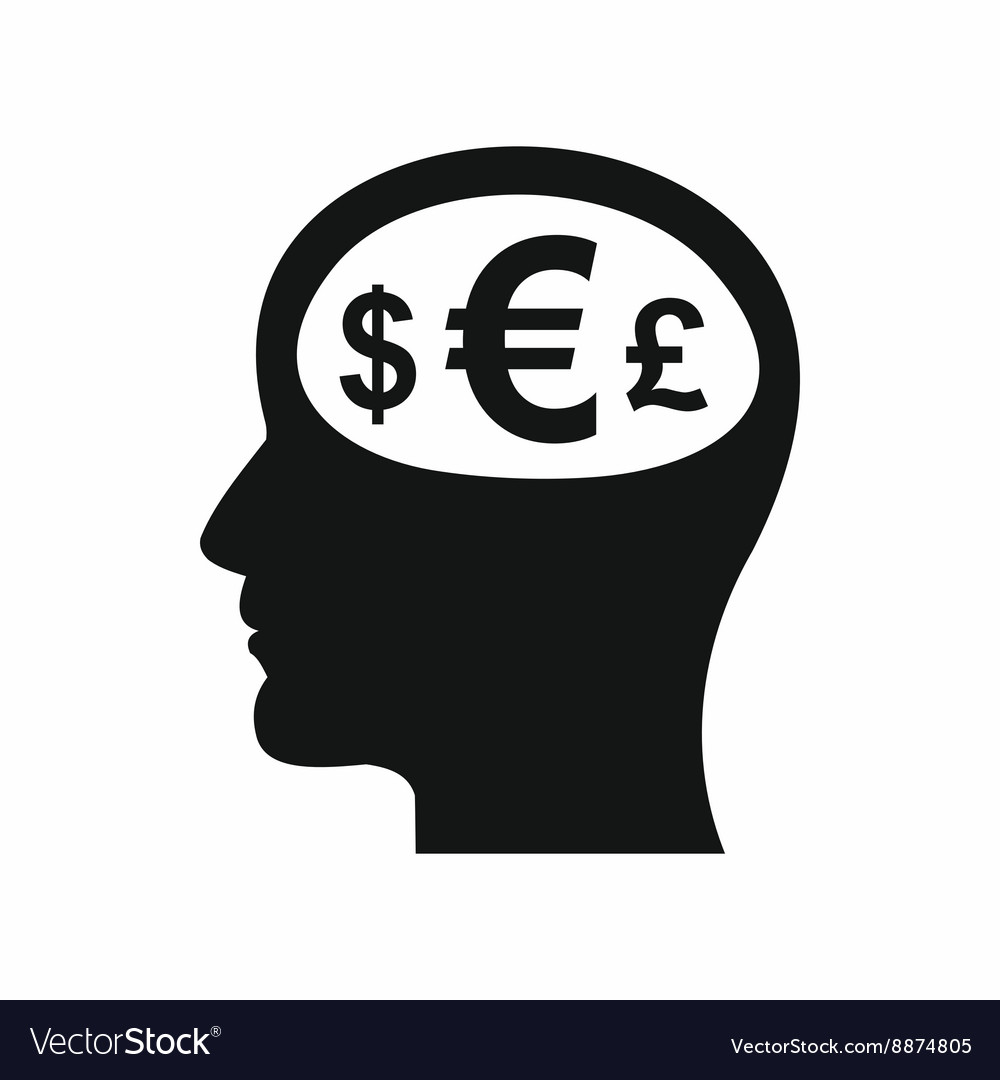 Thoughts about money icon simple style vector