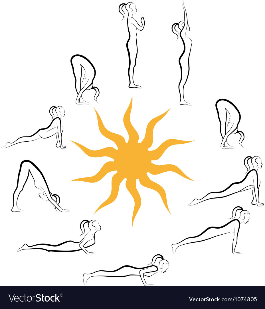 Yoga sun salutation vector