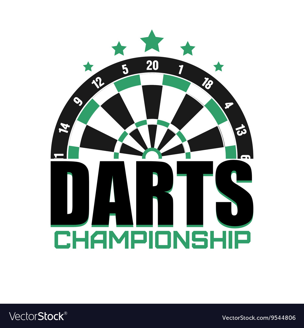 Darts label badge logo darts sporting symbols vector