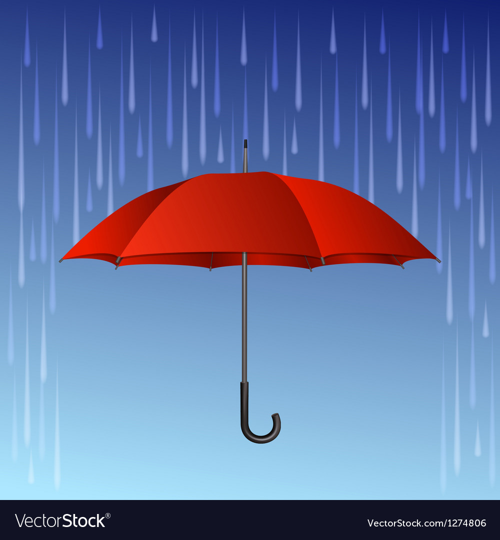 Red umbrella and rain drops vector