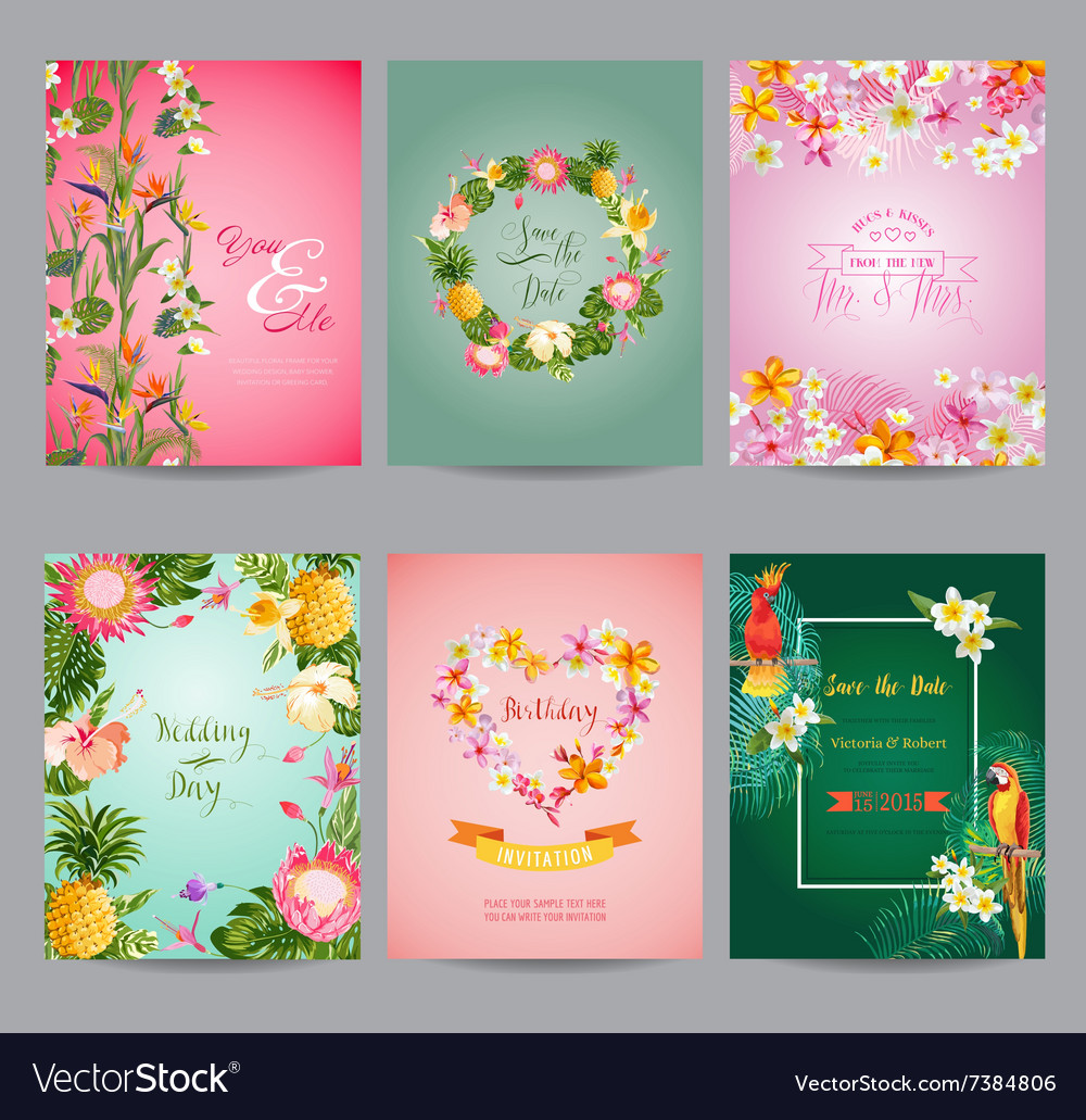 Tropical flowers card set  for wedding birthday vector