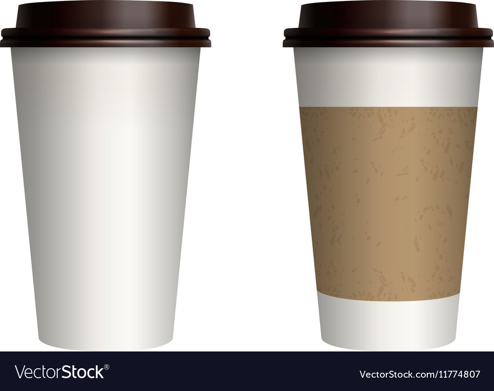 Takeout coffee with brown cap and cup holder vector
