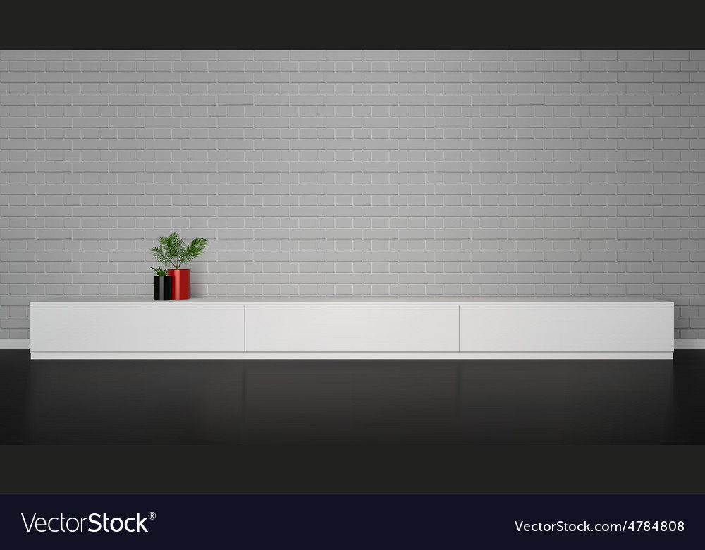Minimalistic interior with cupboard table with vector
