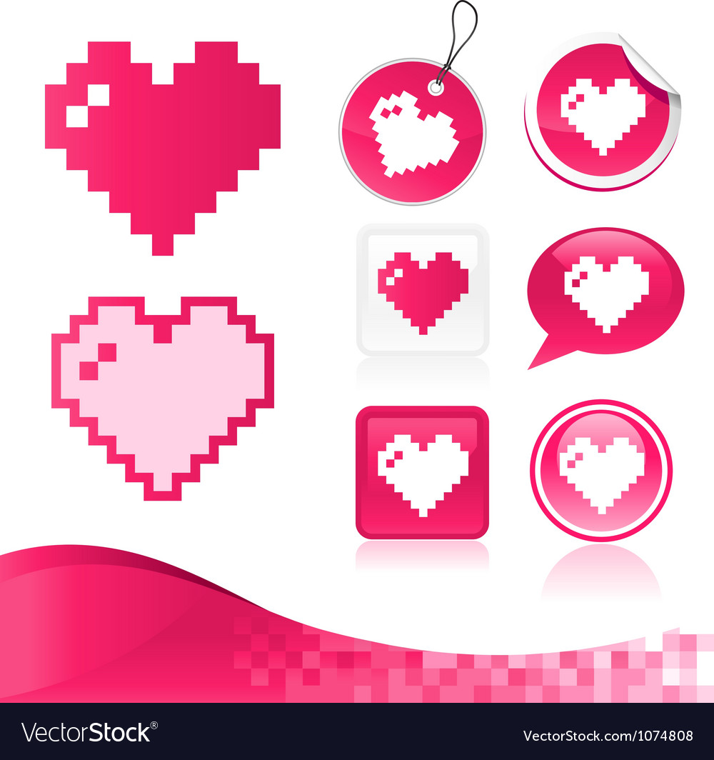 Pixel heart design kit vector