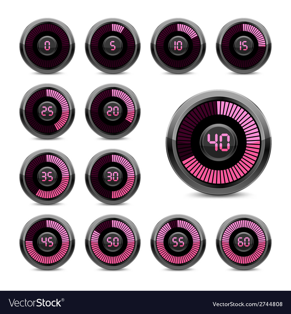 Set of electronic timers vector