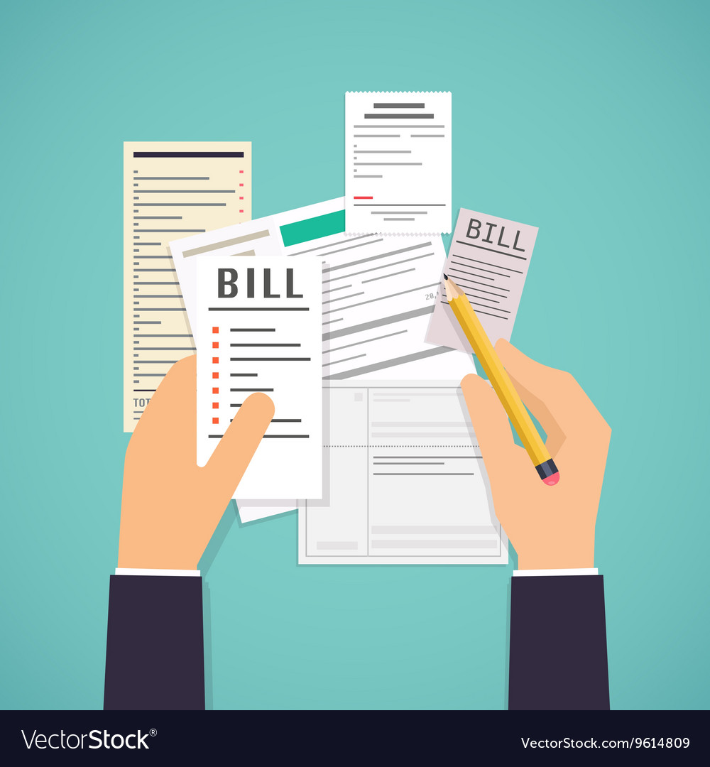 Paying bills hands holding bills and pencil vector