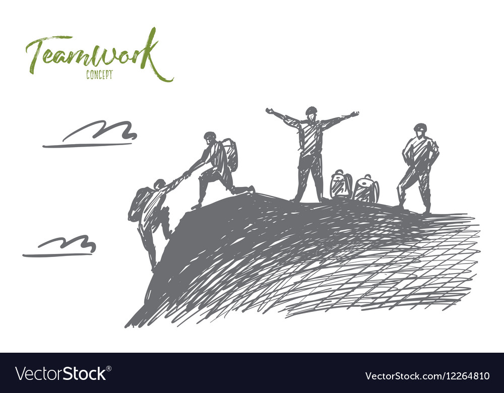 Hand drawn people helping each other to climb up vector